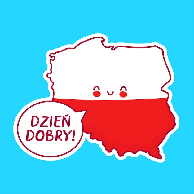 Ładny Szczęśliwy Zabawny Mapa Polski I Znak Flagi Premium Wektorów
