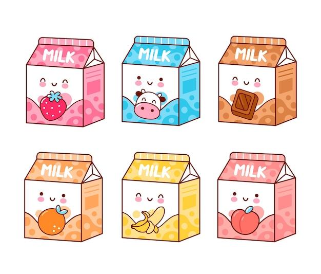 Ładny Szczęśliwy Zabawny Zestaw Mleka O Smaku Premium Wektorów