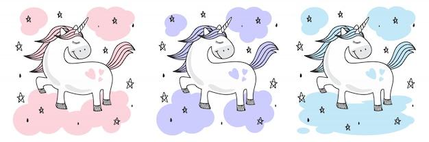Ładny szkic jednorożca doodle Premium Wektorów