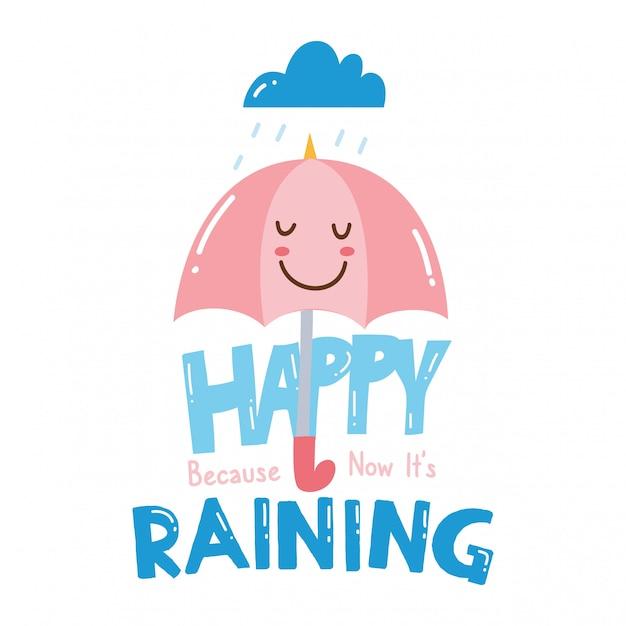 Ładny t-shirt z hasłem i parasolem kawaii Premium Wektorów