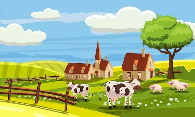 Ładny wiejski krajobraz z gospodarstw i uroczych zwierzątek w stylu kreskówki Premium Wektorów
