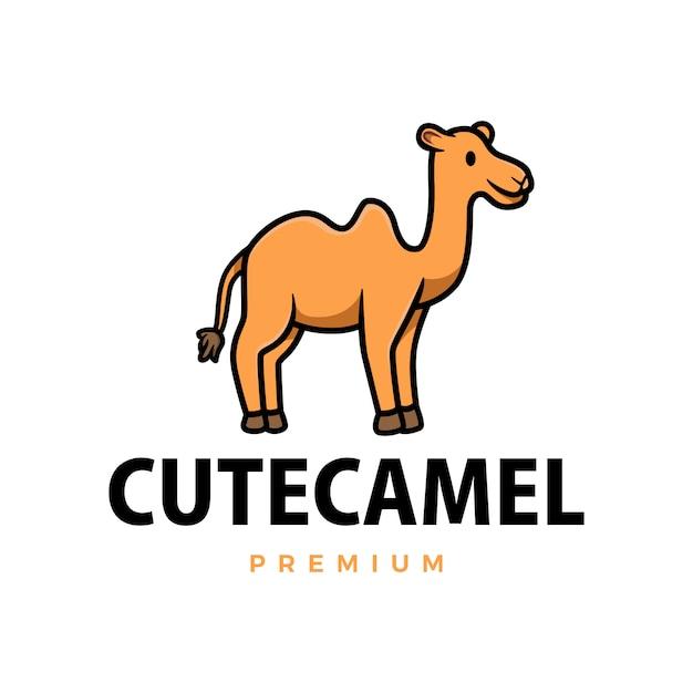 Ładny Wielbłąd Kreskówka Ikona Ilustracja Logo Premium Wektorów