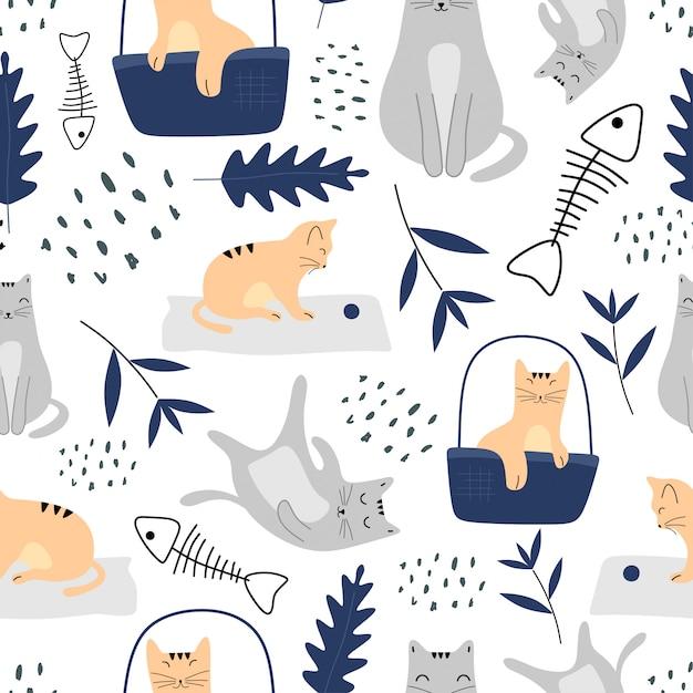 Ładny wzór z kotami i stylu skandynawskim roślin botanicznych Premium Wektorów