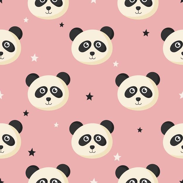 Ładny Wzór Z Kreskówki Dla Dzieci Panda I Gwiazda Dla Dzieci. Zwierzę Na Różowym Tle. Premium Wektorów