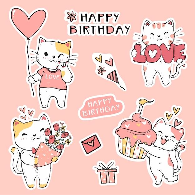 Ładny Zabawny Kot Urodzinowy Zestaw Elementowy Doodle Sztuki Dla Naklejki, Dziennika, Karty Do Druku I Karty Z Pozdrowieniami Premium Wektorów