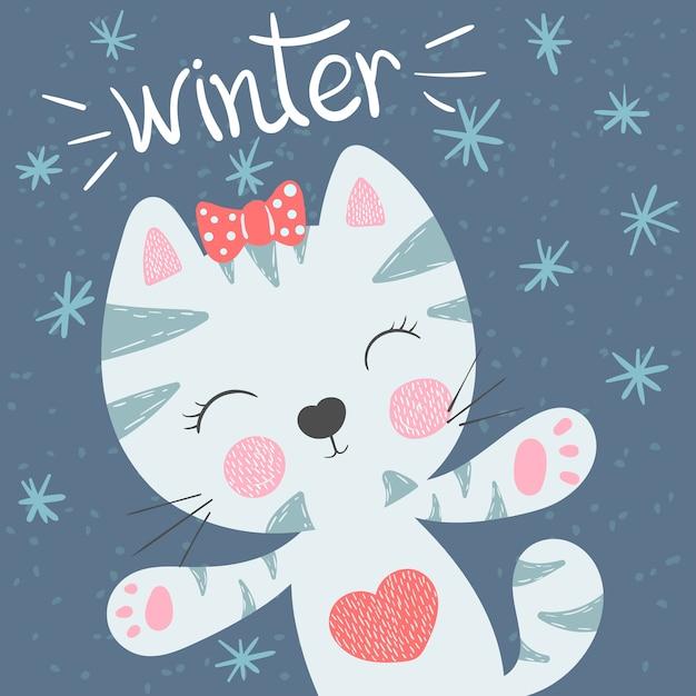 Ładny, zabawny kot. zimowe ilustracji. Premium Wektorów