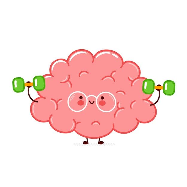 Ładny Zabawny Ludzki Narząd Mózgu Sprawia, że Siłownia Z Hantlami. Premium Wektorów
