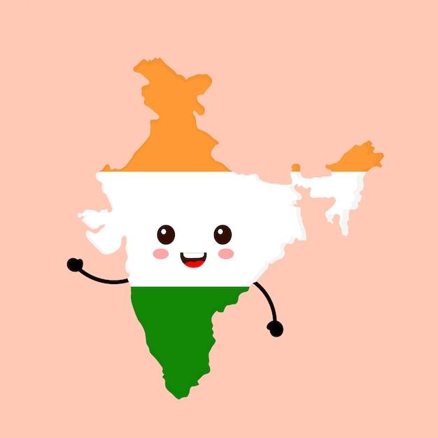 Ładny Zabawny Uśmiechający Się Szczęśliwy Indie Mapę I Flaga Postać. Premium Wektorów
