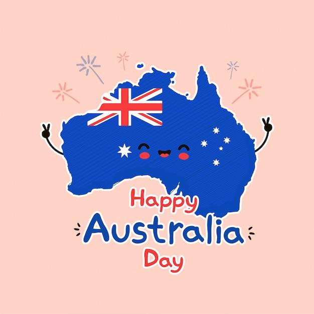 Ładny Zabawny Uśmiechający Się Szczęśliwy Mapę Australii I Flaga Postać. Premium Wektorów