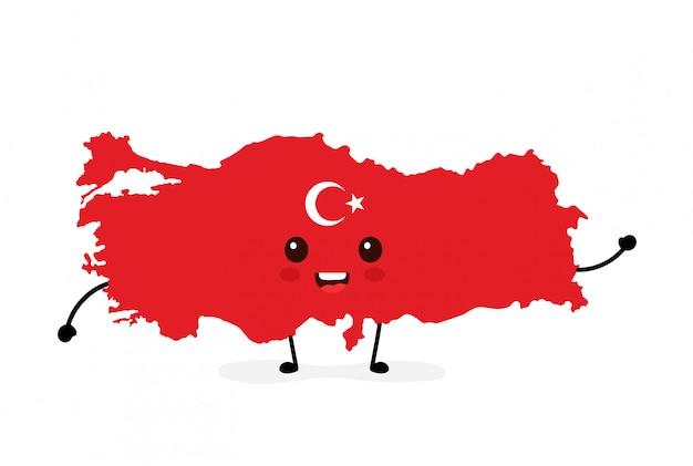 Ładny zabawny uśmiechający się zadowolony turcja mapę i znak flagi. Premium Wektorów