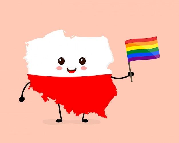 Ładny Zabawny Uśmiechnięty Szczęśliwy Polska Mapa I Flaga Postać Z Tęczową Flagą Gejów Lgbt Premium Wektorów