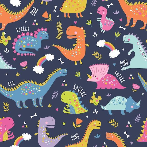 Ładny Zabawny Wzór Dinozaurów Dla Dzieci. Premium Wektorów