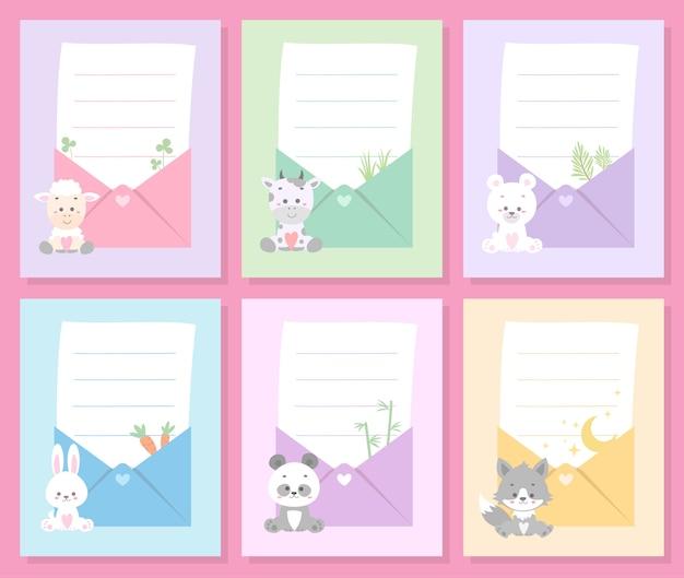 Ładny zestaw kart zwierząt Premium Wektorów