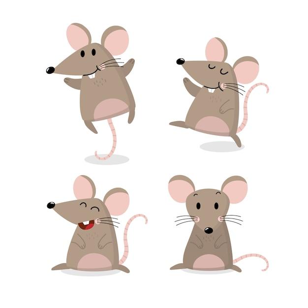 Ładny Zestaw Wektor Myszy. Mały Szczur Ma Długi Ogon. Premium Wektorów