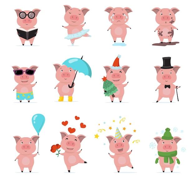 Ładny Zestaw Znaków świnki Płaski Darmowych Wektorów