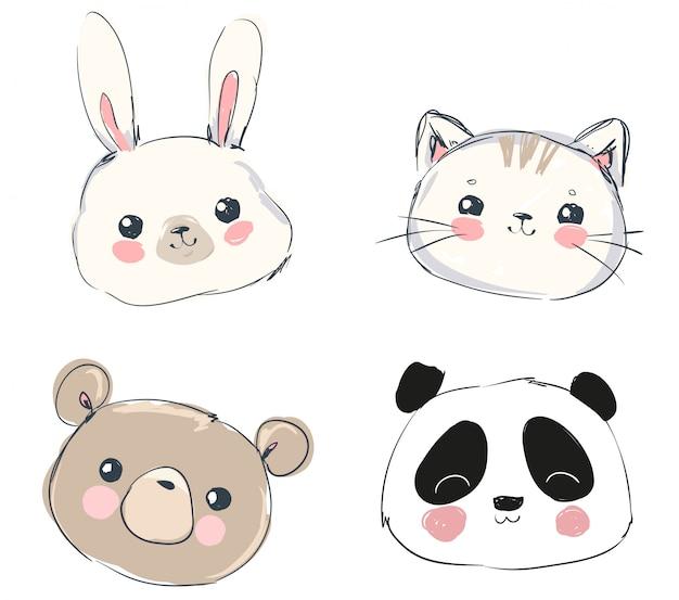 Ładny zestaw zwierząt, ręcznie rysowane ładny królik, niedźwiedź, panda i kot. Premium Wektorów