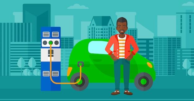 Ładowanie samochodu elektrycznego Premium Wektorów