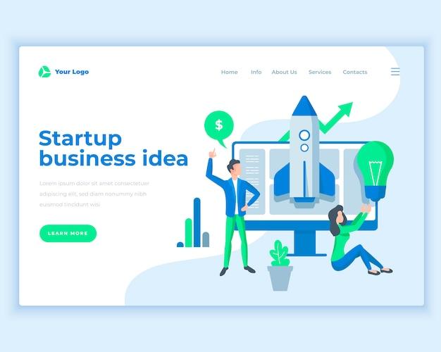 Lądowanie szablon strony startowej koncepcji pomysłów biznesowych z ludzi biurowych. Premium Wektorów