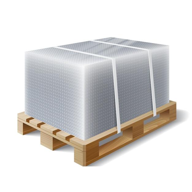 Ładunek Na Drewnianej Palecie Premium Wektorów