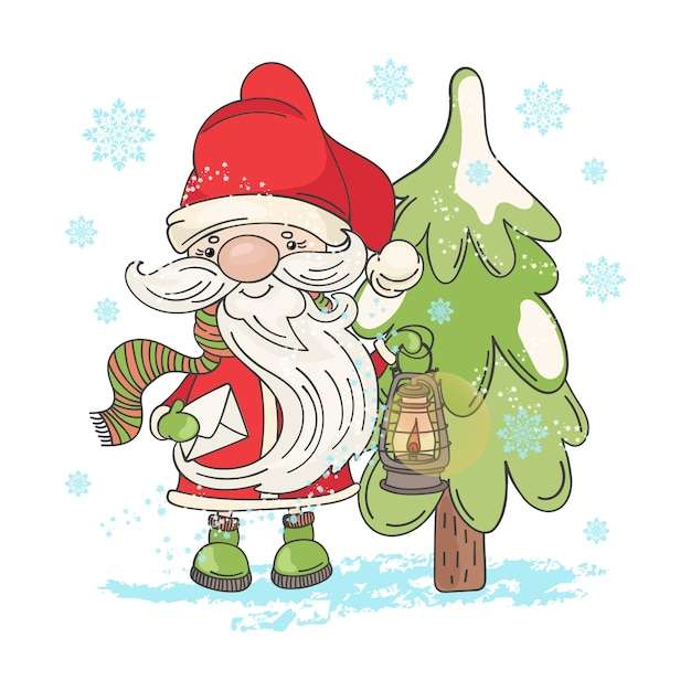Lamp santa christmas cartoon Premium Wektorów