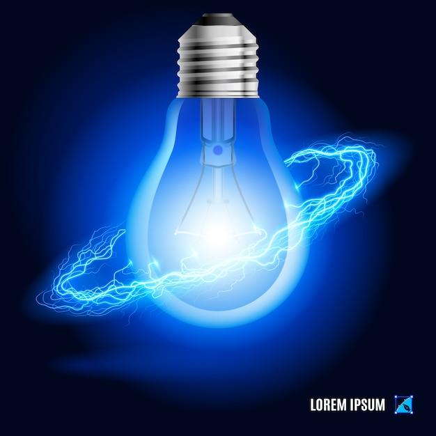Lampa Otoczona Strumieniem Niebieskiej Energii W Przestrzeni Premium Wektorów