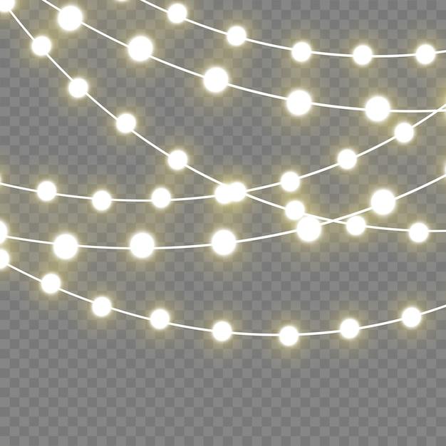 Lampki świąteczne Na Białym Tle Realistyczne Elementy. Premium Wektorów