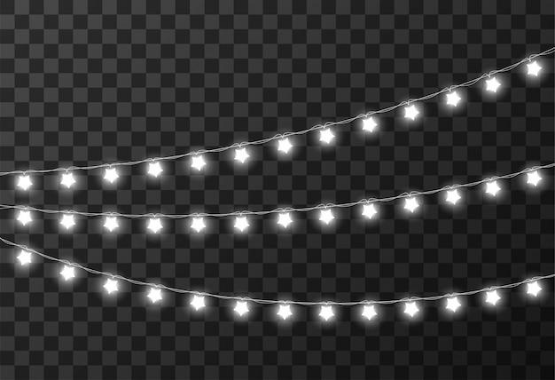 Lampki świąteczne Na Białym Tle Premium Wektorów