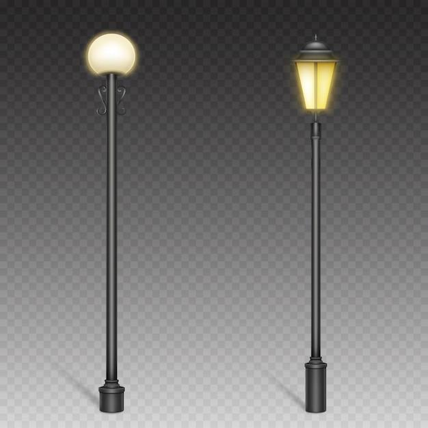 Lampy Uliczne W Stylu Vintage, Latarnie Retro Na Stalowych Słupach Do Oświetlenia Miejskiego. Darmowych Wektorów