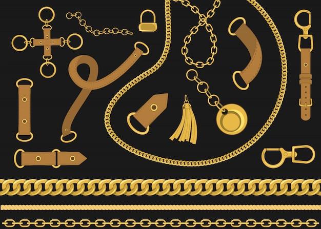 Łańcuchy I Pasy Elementów Projektu Wektorowego. Ilustracja Wektorowa W Stylu Barokowym Premium Wektorów