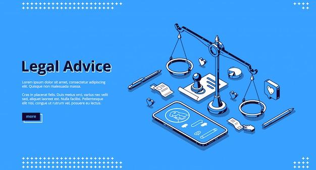 Landing Page Serwisu Porad Prawnych Darmowych Wektorów