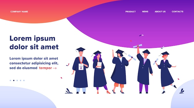 Landing Page, Szczęśliwi Różnorodni Uczniowie świętujący Ukończenie Szkoły Lub Uczelni, Posiadający Dyplomy I Certyfikaty. Płaskie Ilustracji Wektorowych Dla Edukacji, Impreza Uniwersytecka, Koncepcja Sukcesu Akademickiego Darmowych Wektorów