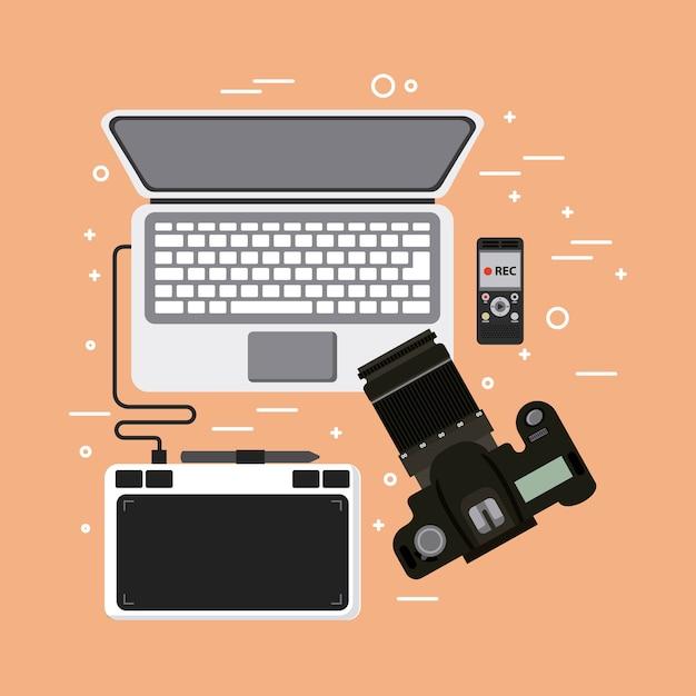 Laptop Fotograficzny Premium Wektorów