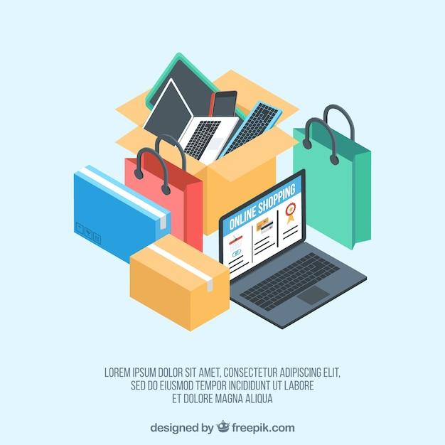 Laptop i izometryczne zakupy online Darmowych Wektorów