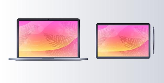 Laptop I Tablet Z Kolorowymi Ekranami Realistyczne Makiety Gadżetów I Koncepcji Urządzeń Premium Wektorów