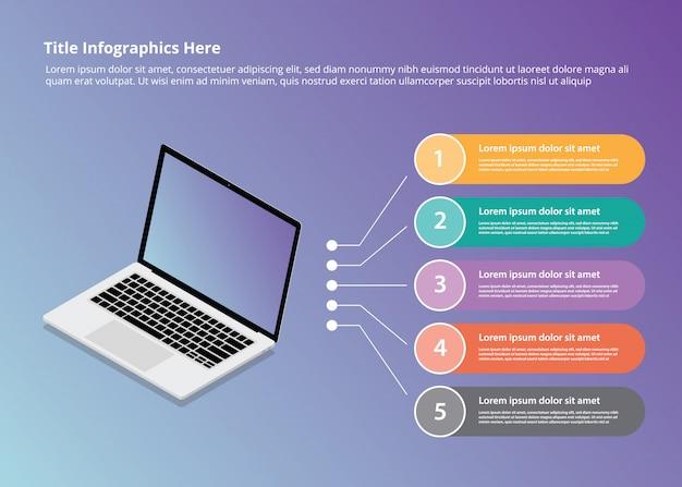 Laptop infografiki w stylu izometrycznym i 5 punktowych kul Premium Wektorów
