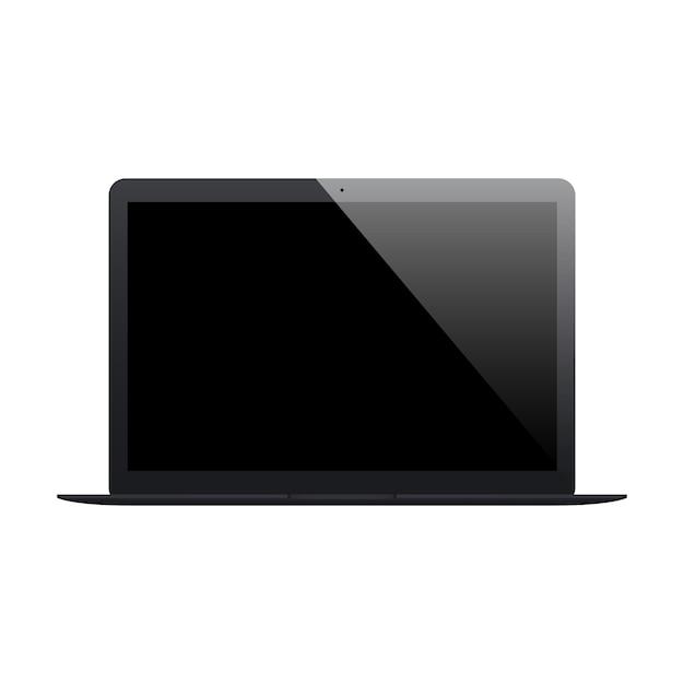Laptop Matowy Czarny Kolor Z Pustym Ekranem Na Białym Tle Premium Wektorów