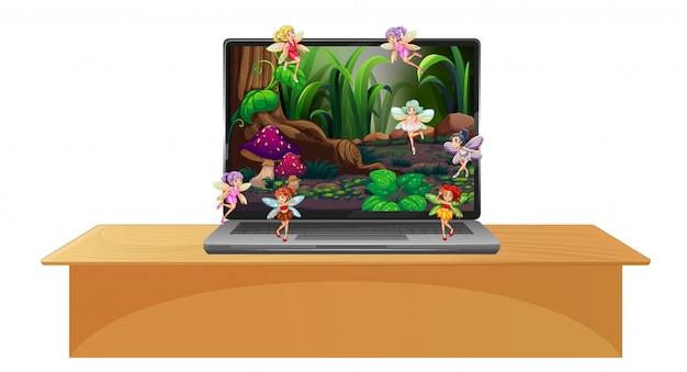 Laptop Z Bajkową Sceną Na Ekranie Komputera Stacjonarnego Darmowych Wektorów