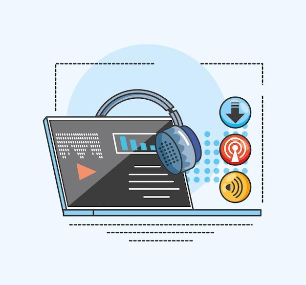 Laptop z gadżetem cyfrowego studia audio Premium Wektorów