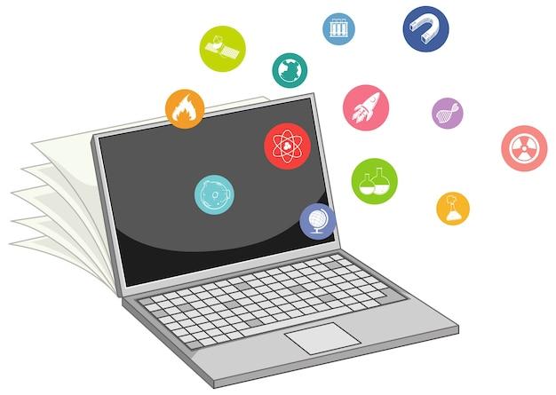 Laptop Z Ikoną Edukacji Na Białym Tle Darmowych Wektorów