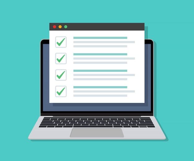 Laptop Z Listą Kontrolną Online Na Wyświetlaczu W Płaskiej Konstrukcji Premium Wektorów