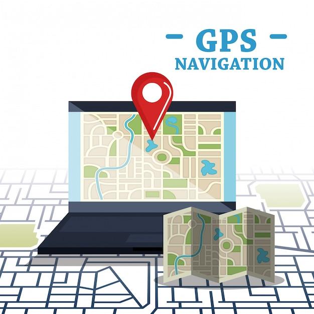 Laptop Z Oprogramowaniem Do Nawigacji Gps Darmowych Wektorów