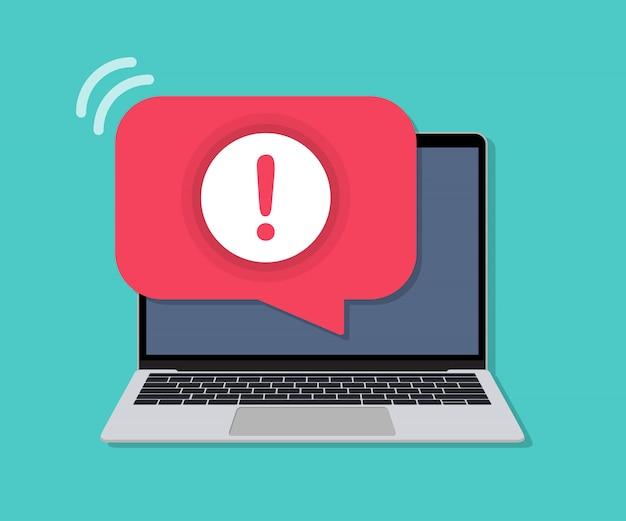 Laptop Z Powiadomieniem O Alertach W Płaskiej Konstrukcji Premium Wektorów