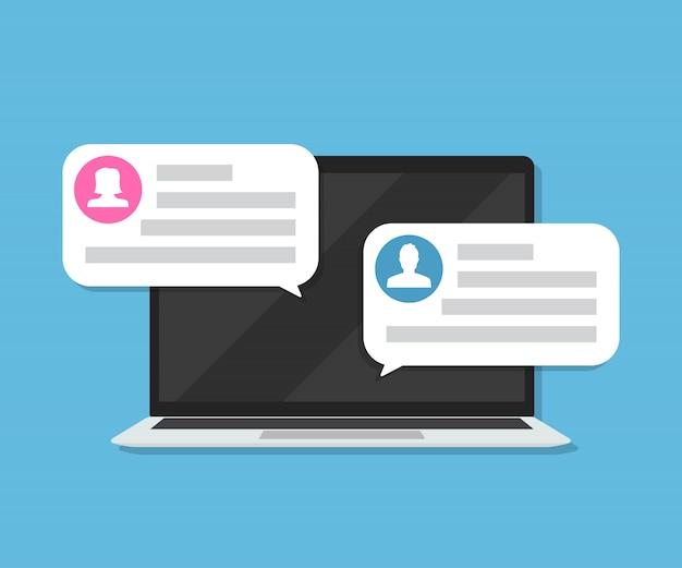 Laptop Z Powiadomieniem O Recenzji Klienta Z Ocenami W Mieszkaniu Premium Wektorów