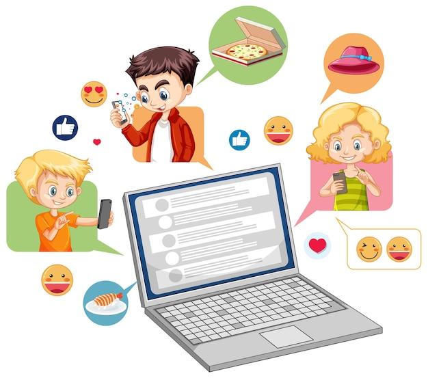 Laptop Z Stylu Cartoon Emoji Mediów Społecznościowych Na Białym Tle Darmowych Wektorów