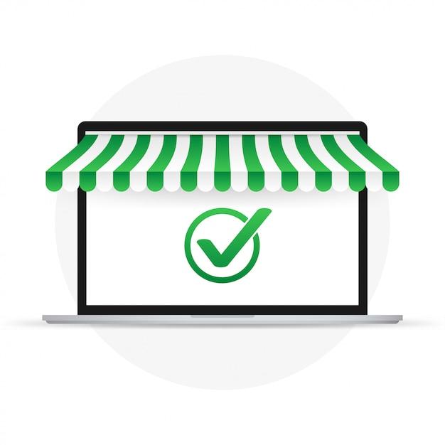 Laptop Z Zatwierdzonym Powiadomieniem Kleszczowym Znak Wyboru Pomyślnego Działania Laptop Z Powiadomieniem Znacznika Wyboru Premium Wektorów