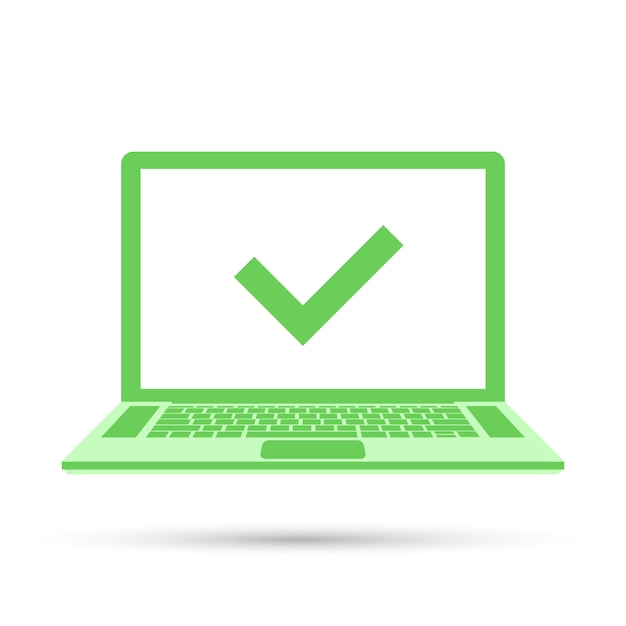 Laptop z znacznikiem wyboru na zielonym ekranie Premium Wektorów
