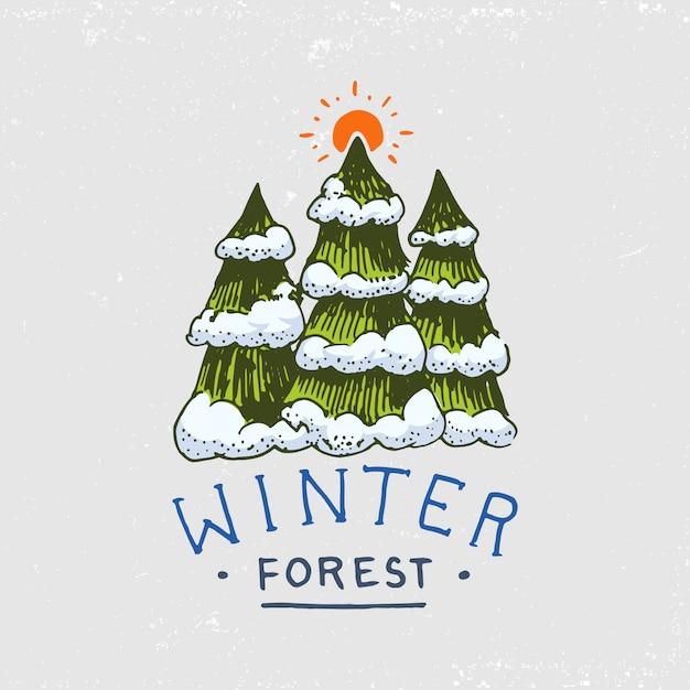 Las Iglasty, Góry I Drewniane Logo. Camping I Dzika Przyroda. Premium Wektorów