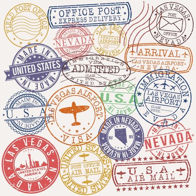 Las vegas nevada zestaw wzorów pieczęci podróżniczych i biznesowych Premium Wektorów