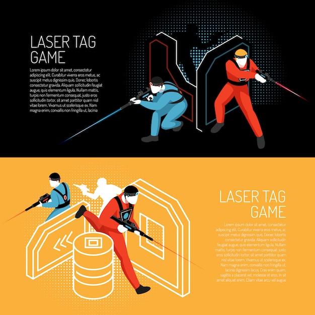 Laserowa Etykietki Gry Wieloosobowej Gry Zespołowej Isometric Horyzontalni Kolorowi Sztandary Z Graczami W Akcja Wektoru Ilustraci Darmowych Wektorów