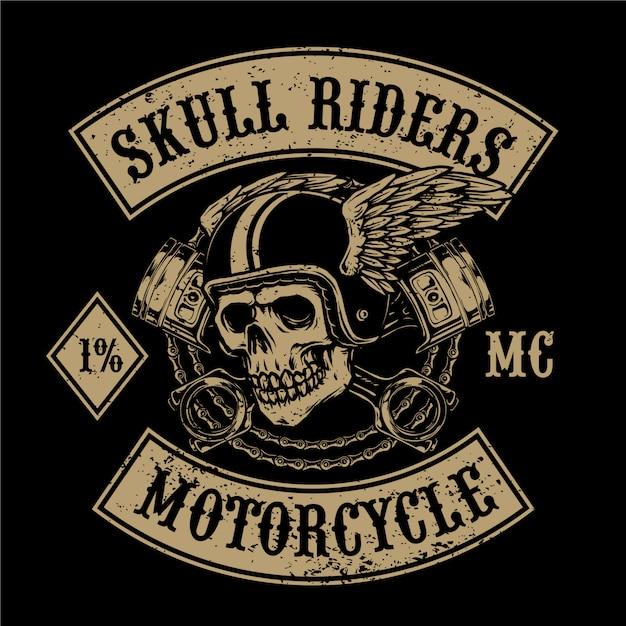 Latająca Czaszka Z Kluczem Nadaje Się Do Logo Klubu Motocyklowego Lub Warsztatu Premium Wektorów